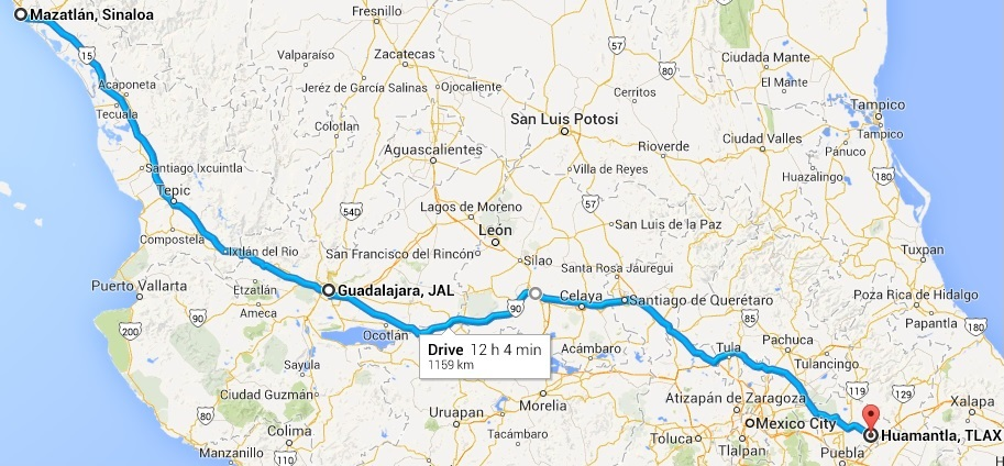 Our route from Mazatlan to Huamantla