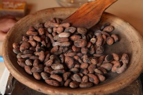 We all took turns roasting cocoa beans before crushing them and turning them into hot chocolate. Photo: Alex Washburn