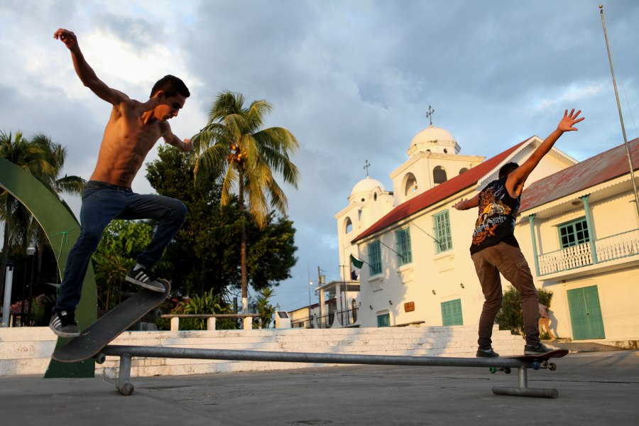 Flores is an island but it's also basically one big hill full of one way cobblestone streets. The only place in town good for skateboarding is in the plaza at the very middle and top of the small community. The plaza has a church, basketball court and plenty of open concrete where the skateboarders have a rail to grind on. Xavier, 15,  and Julio Ramirez, 17, (left to right) were some of the local kids we found hanging out there. Photo: Alex Washburn