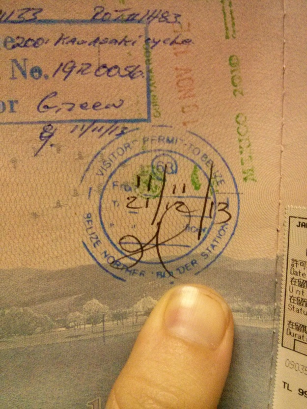 Belize immigration stamp in Nathaniel's passport (Photo: Nathaniel Chaney)