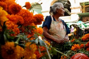 A marigold vendor watches for customers on the streets of Oaxaca. Marigolds are a flower traditionally used to decorate altars and tombs for Dia De Los Muertos festivities. Photo: Alex Washburn