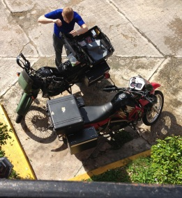 Nathaniel packs his gear, getting ready to cross the Belize border. (Photo: Alex Washburn)