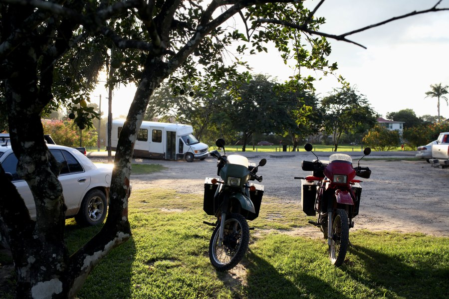 Our bikes parked in front of Hode's restaurant in San Ignacio Belize. Photo: Alex Washburn
