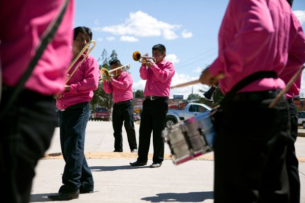 A band plays music walking through the streets of Tule Mexico. Photo: Alex Washburn