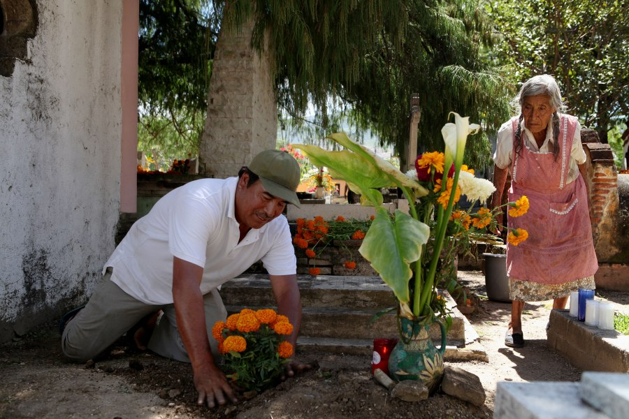 Martin Santiago Lopez plants marigolds for day of the dead on the tomb of his grandfather as his mother watches in the cemetery of Santa Maria del Tule, Mexico. Most of their family buried in the cemetery and since the family trade is landscaping they use a lot of plants in their Dia De Los Muertos decorations. Photo: Alex Washburn