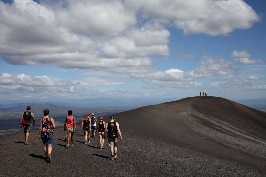 We explore the crown of Cerro Negro after an hour hike to the top.  Photo:Alex Washburn