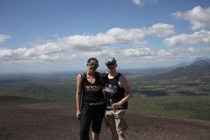 Nathaniel and I pose for a photo at the top of Cerro Negro. Photo: Our fellow boarder Josh