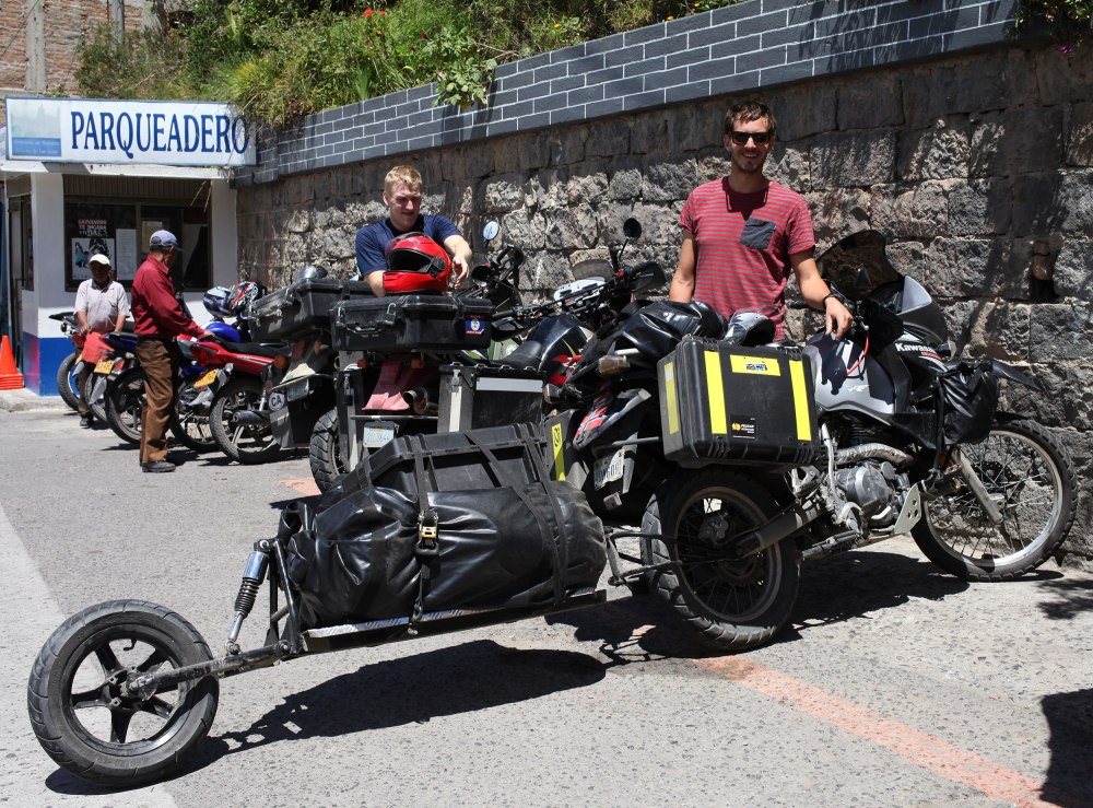 Jørgen poses with his KLR650 and custom made trailer (less than $100) before we leave the Sanctuario de Las Lajas and go have guinea pig for lunch. Photo: Alex Washburn