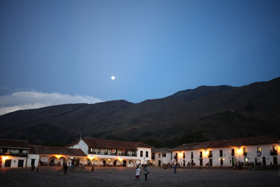 The Plaza Mayor in Valle De Leyva is one of the biggest plazas in the America's. It's a huge open cobblestone square with a small fountain in the middle of it with a handful of eateries on its edges. Photo: Alex Washburn