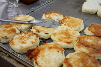 In Cartagena I hopped up and down when I saw people grilling 'arepas con queso' in the streets. Costa Rica and Panama are sadly lacking in street food and I was excited by both how amazing they looked and by the possibility that Colombia could represent a shift in street food culture. These patties are made of corn, however they almost have the texture of mashed potatoes because of all the cheese mixed into them. They usually have a thin piece of ham in them and the arepa vendor (in Cartagena) will slice it open and add a dash of butter to the melty madness before handing it over. They each cost $1. Photo: Alex Washburn