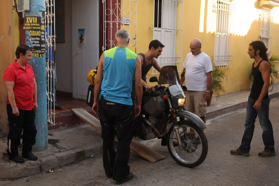Jesse was the last of our group to roll his bike out of our Cartagena Hostel and onto the street as we got ready to leave. Photo: Alex Washburn