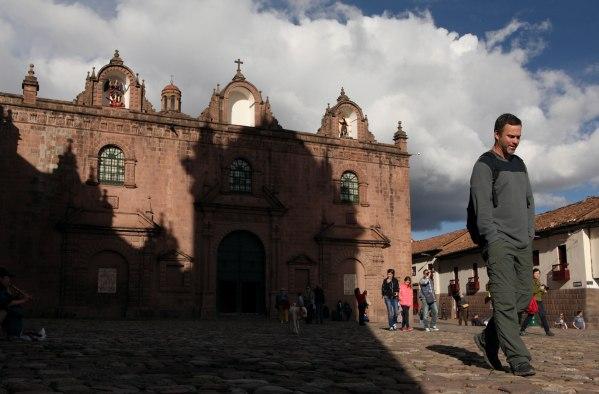 Spencer (of San Francisco) walks through Plaza De Armas in Cusco. Photo: Alex Washburn