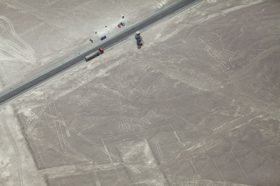 Here is an aerial view of the observation tower we stopped at on the way into Nasca. The tree (left) and hands (right) are clearly visible - check out the semi truck on the highway for scale! Photo: Alex Washburn