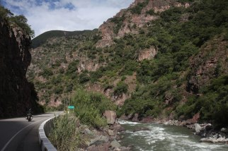 Nathaniel rides through a canyon a little more than two-hours west of Cusco. Photo: Alex Washburn