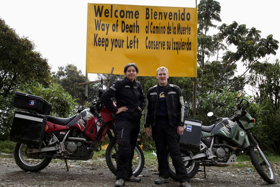 Our couple photo on the Bolivian Death road. Photo: Alex Washburn