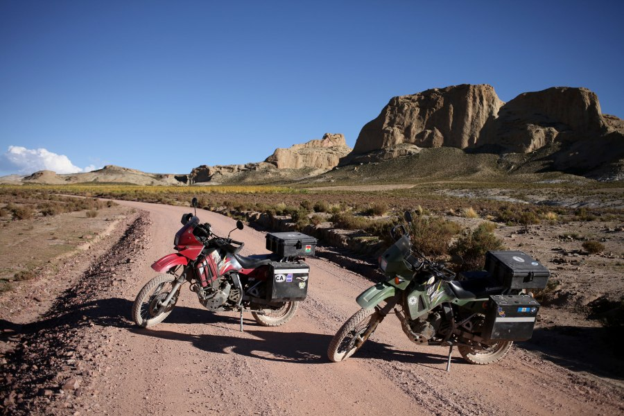 After touring the Salar de Uyuni we were ready to pack up and head south once again. The ride directly between Uyuni and Tupiza Bolivia is 125 miles of intense sand, gravel and not much else. Around mile 60 I (Alex) fell over in the sand and realized while inspecting the bike that a sub frame bolt had rattled loose. We had to stay an extra night in Tupiza to go over the bikes and prepare them to cross to Argentina. Photo: Alex Washburn